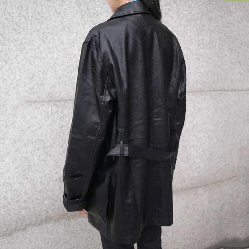 Lanmrem Warna Solid Single-Breasted Lengan Panjang Saku Slim Belt PU Kulit Jaket Pakaian 2020 Musim Semi Mantel TV516