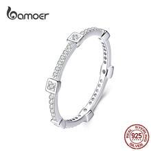 Bamoer-bagues géométriques carrées empilables pour femmes, bijoux CZ 925, clair, bijoux, déclaration de fiançailles, SCR551