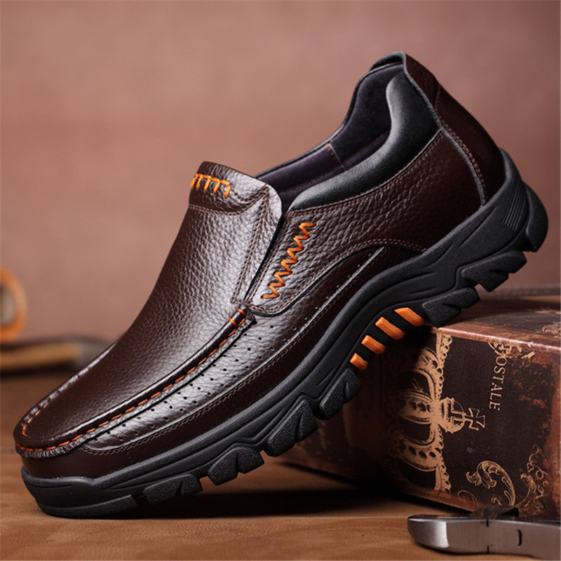 2020 Newly Men's Genuine Leather Shoes Size 38-46 Head Leather Soft Anti-slip Driving Shoes Man Spring Business Dress Shoes