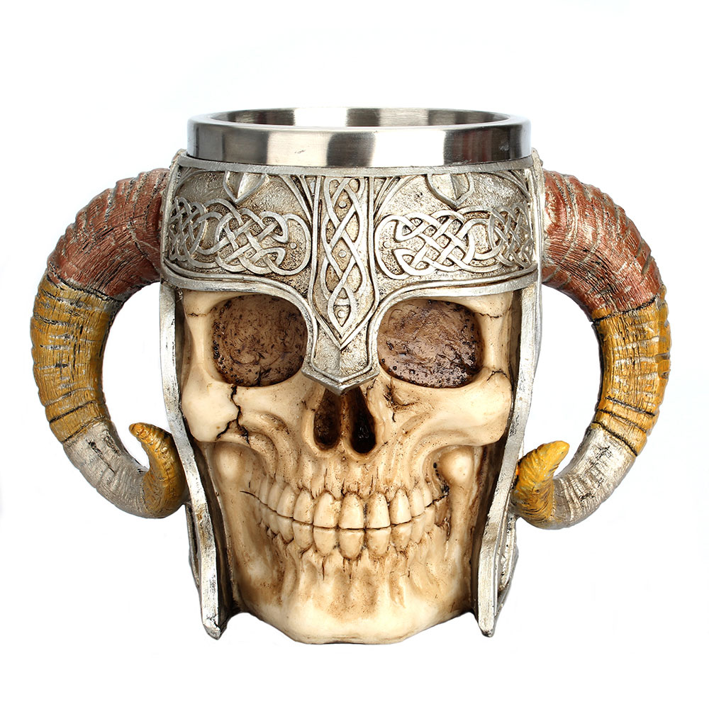 Stainless Steel Skull Mug Viking Drinking Cup Skeleton Resin Beer Stein Tankard Coffee Mug Tea Cup Halloween Bar Drinkware Gift