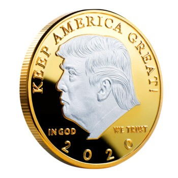 2020 silver-plated gold-plated two-color Trump commemorative coin gold and silver US president coin Trump crafts collection gift 1