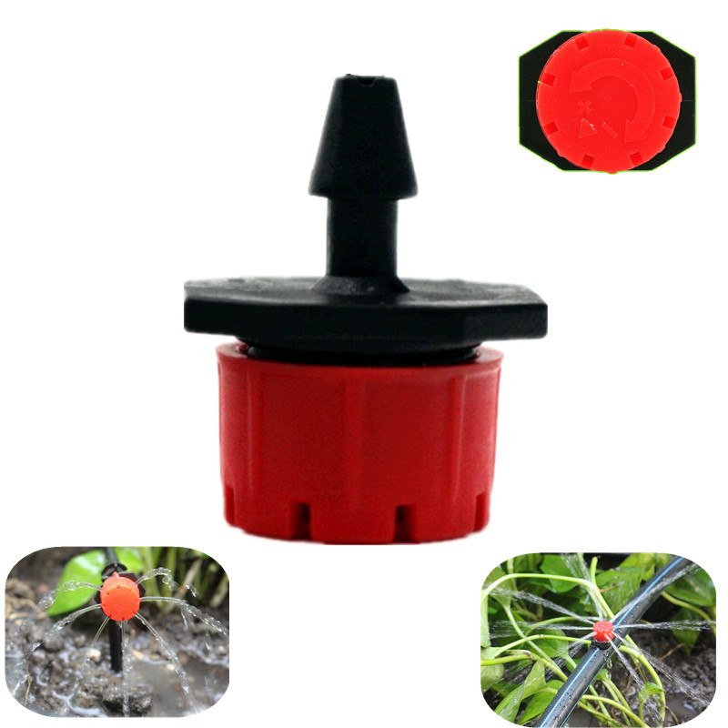500PCS 8Holes Red Adjustable Flow Dripper Micro Nozzle Dripper Emitter Drip Irrigation Sprinkler Nozzle Garden Watering Fittings