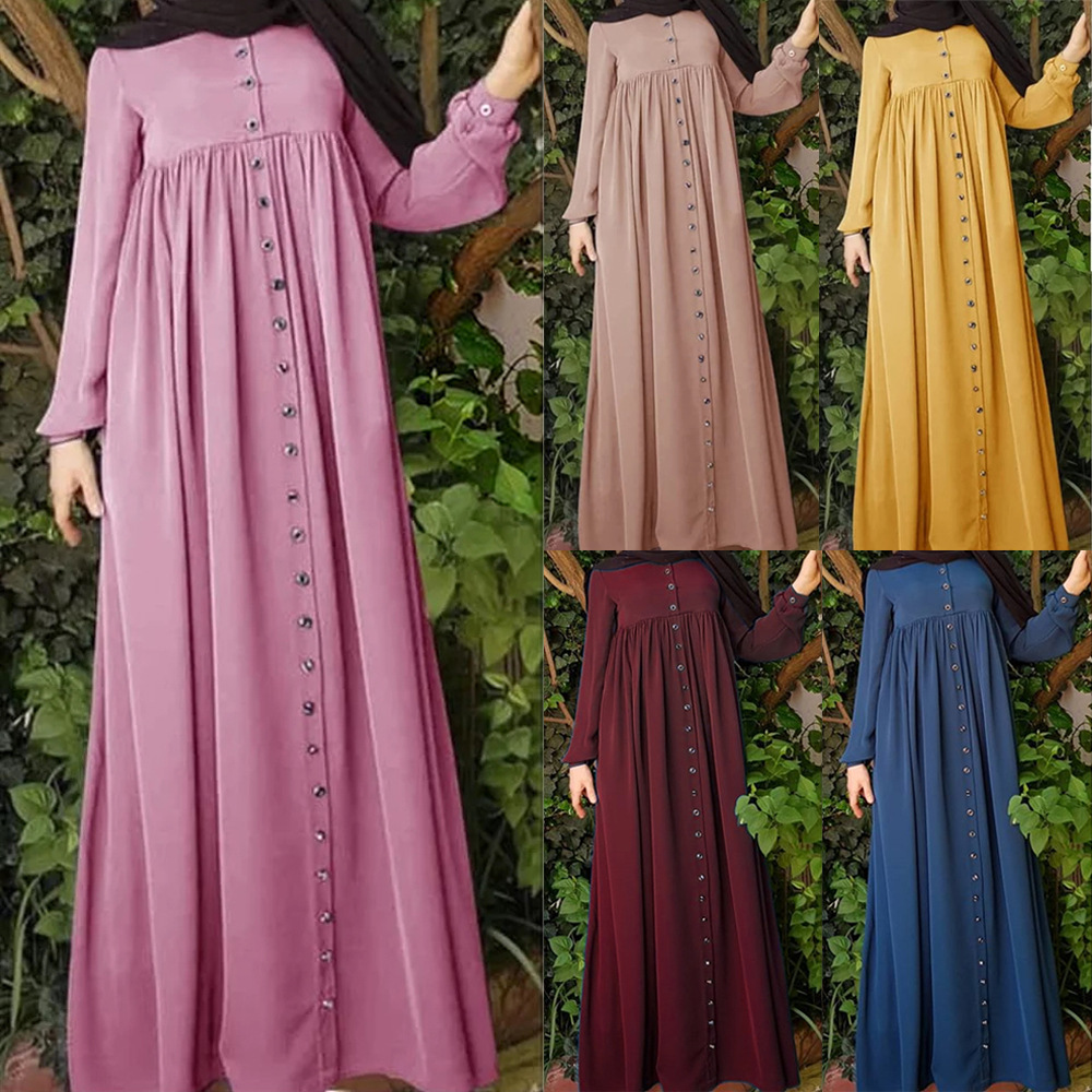 Muslim Abaya Maxi Dress Loose Robes Cardigan Long Sleeve Tunic Kimono Ramadan Islamic Prayer Worship Service Turkey Vestidos