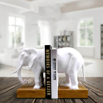 Resin Elephant Bookend Magazine Books Holder Figurines Animal Miniature Book Safe Table Storage Home Office Decor Accessories