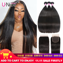 UNice Hair Peruvian Straight Hair 3 Bundles With Closure Lace Closure 4PCS Swiss Lace Human Hair Weave Remy Hair Diy Wig