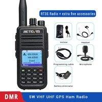 מכשיר הקשר Retevis RT3S Dual Band DMR רדיו דיגיטלי מכשיר הקשר GPS DCDM TDMA Ham Radio Station Hf משדר + אביזרים (1)