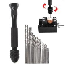 Aluminum Mini Micro Hand Drill Keyless Chuck With 30pcs Twist Drills Bits Rotary цены