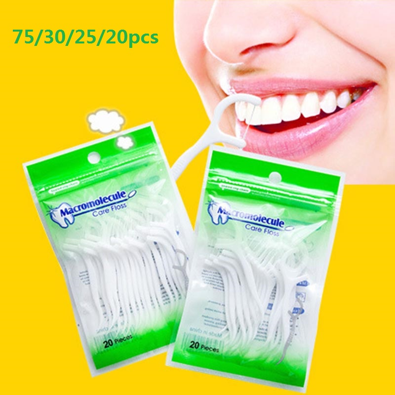 75/30/25/20pcs Dental Floss Stick For After Dinner Tooth Picks Teeth Safety Toothpicks Stick Flosser Interdental Brush Oral Care