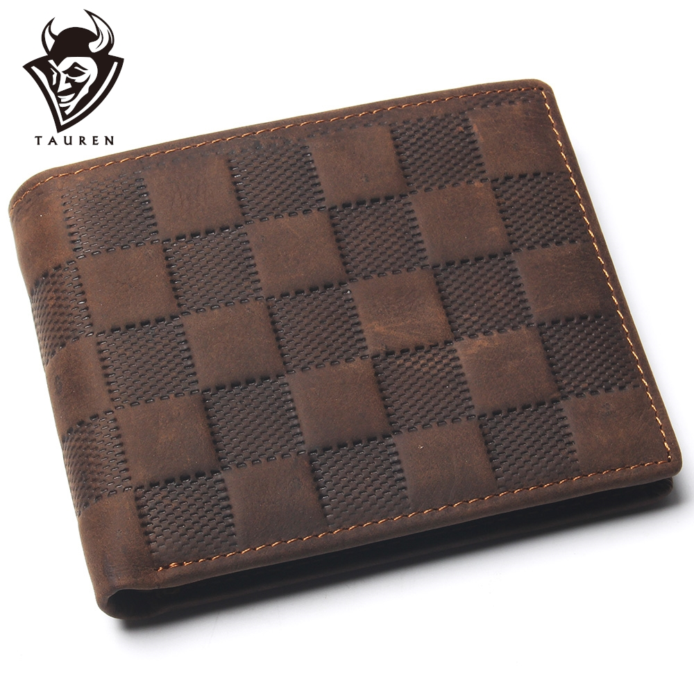 Crazy Horse Leather Men's Top Layer Leather Lattice Wallet For Mens Real Leather Luxury And Classical Design Mens Small Wallet