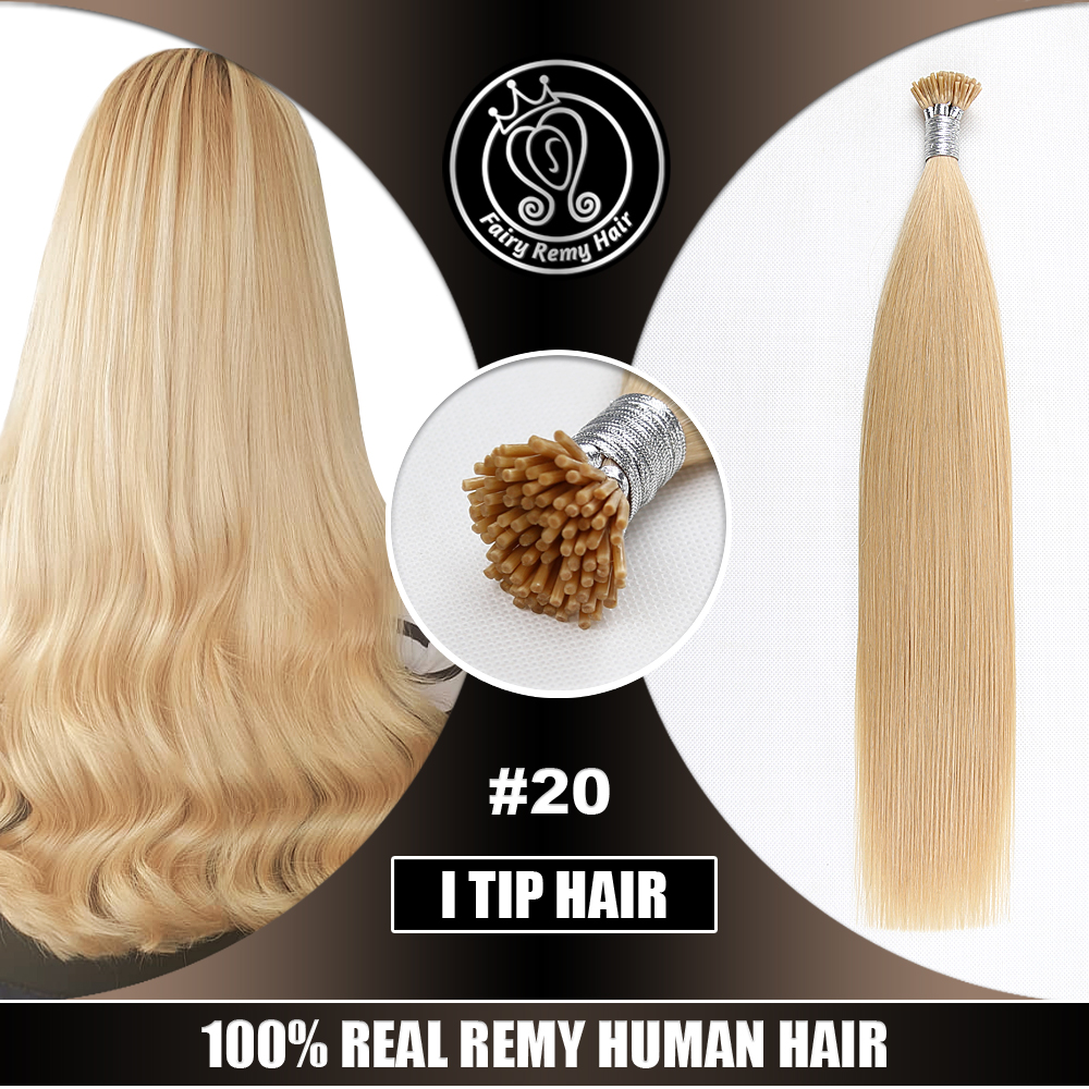 Fusion Keratin I Tip Remy European Human Hair Extensions On Capsule Medium Blonde Color #20 0.8g/s 16
