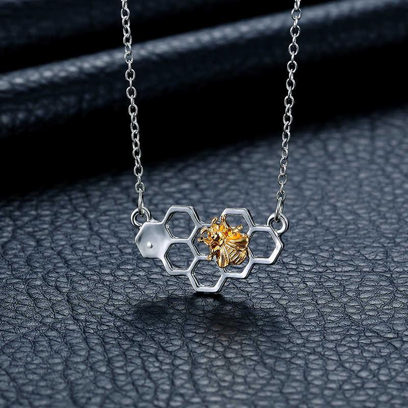 Nowa moda damska srebrny naszyjnik dziewczyna Honeycomb Bee wisiorek z motywem zwierzęcym klasyczny długi łańcuszek lady potańcówka prezent akcesoria biżuteryjne