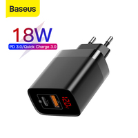 Baseus 18 w dupla usb carregador rápido carga rápida 3.0 usb c pd carregador com display digital dupla portas usb carregador para o telefone|Carregadores de celular| |  -