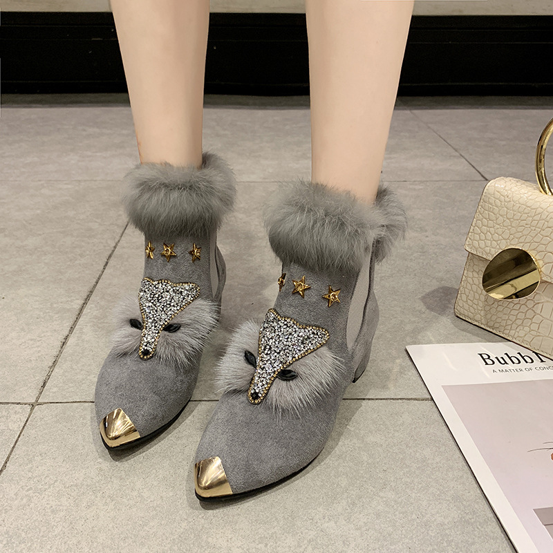 W- Thick and fashion trend new short boots warm daily non-slip increase height winter comfortable personality snow boots women 29