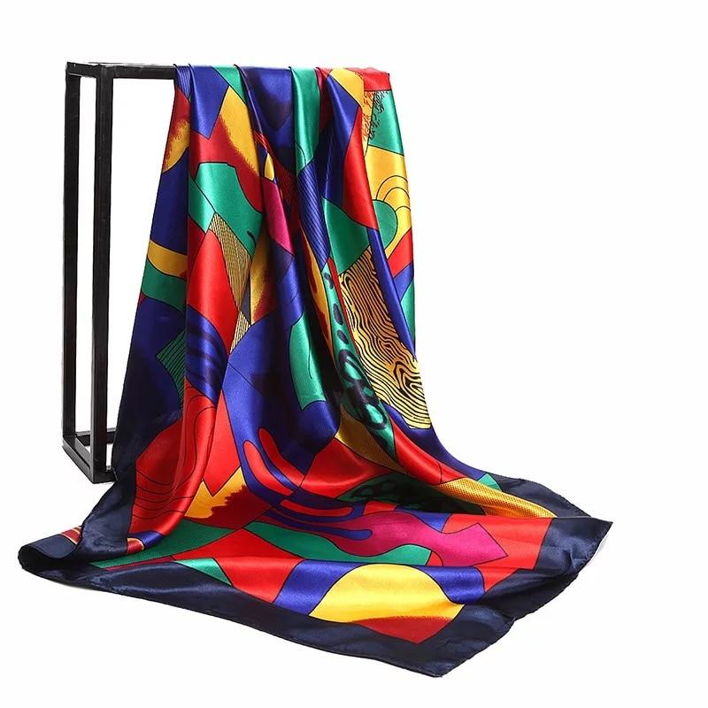 2020 Fashion Kerchief Silk Satin Neck Scarf For Women Print Hijab Scarfs Female 90*90cm Square Shawls And Wraps Scarves For Lady