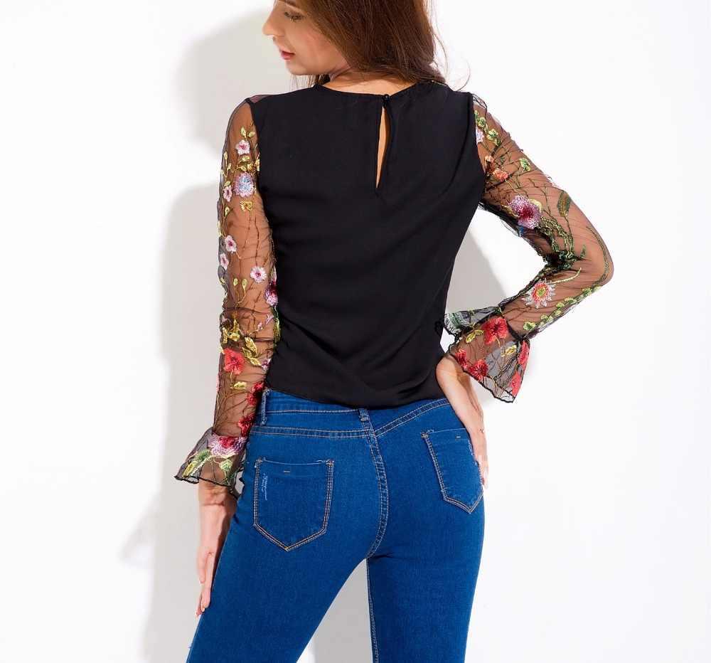 Schwarz Langarm Bluse Weibliche Sexy Transparent Frauen Blusen Stickerei Mesh Damen Tops Mode Spitze Hemd Club Tragen YQ178