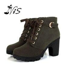 Winter Boots Rubber-Shoes Platform Lace-Up High-Heel Autumn Women Nis No Ankle Thick-Fur