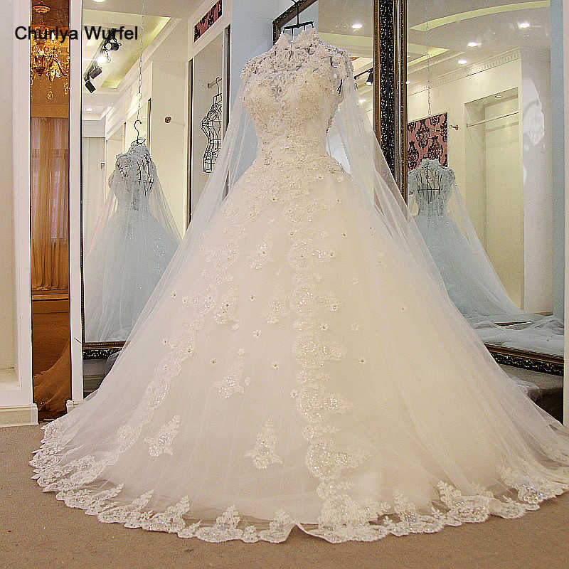 Ls32771 bruidsjurken 2018 tule vestido de baile appliqued rendas até volta marfim alta pescoço árabe vestido de noiva com longo cabo foto real