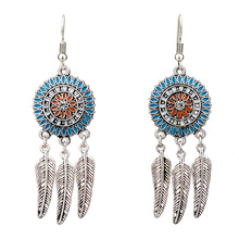 Bohemia Earrings For Women Antique Silver Color Enamel Colorful Flower Leaf Tassel Vintage Jewelry feelgood individuality vintage silver color jewellery exquisite enamel small flower and imitation pearl jewelry sets for women