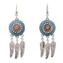 Bohemia Earrings For Women Antique Silver Color Enamel Colorful Flower Leaf Tassel Vintage Jewelry