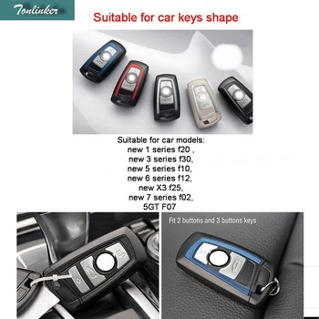 Tonlinker 10 PCS Car Leather Wallet Key Cover Case For Bmw Leather Key Holder 1 3 5 6 7 Series F20 F30 F10 F12 F25 F02 F07