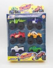 6 pçs/set blaze monster machines carro brinquedos russo milagre triturador caminhão veículos figura blazed brinquedos para crianças presentes de natal