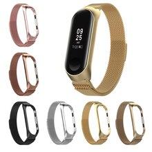 Сменный ремешок из нержавеющей стали для xiaomi mi Band 3 4 браслет ремешок для спортивных часов часы металлический ремешок на руку для xiaomi mi band 3 4
