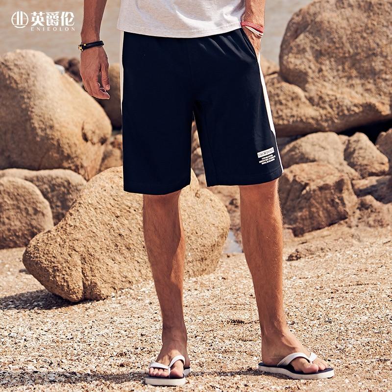 Enjeolon 2020 New Summer Men Casual Sports Shorts Letters Printed Straight Pocket Plus Size Mens Clothing K6906