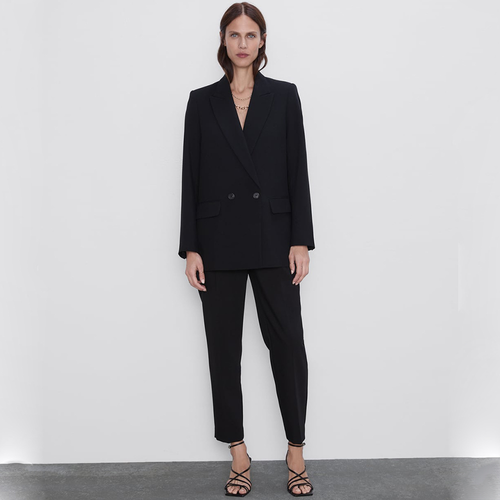 Fashion ZA 2019 Autumn New Suit Jacket Coats Women Europe America Black Blue Clothes Double Breasted Coat Party Travel Wholesale