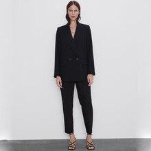 Fashion ZA 2019 Autumn New Suit Jacket Coats Women Europe America Black Blue Clo