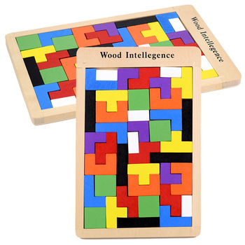 Wood Intellegence Colorful Jigsaw Puzzle Game Kids Brain Storm Colorful Piecing Wooden Interactive Table Game