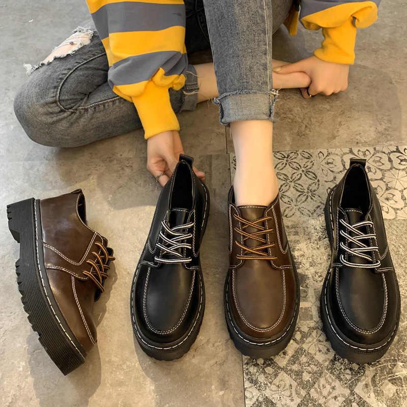 Sólido negro marrón cuero Oxfords zapatos mujer Vintage Creeper 2020 plataforma zapato brogue para dama Casual Oxford zapatos para mujer