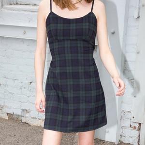 Mini vestido A cuadros con Tirantes finos ajustables para mujer con correas de lazo en la cintura