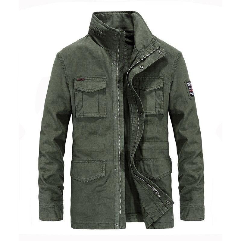 Brand Autumn Jacket Men Military Jackets Coats Men Windbreaker Stand Collar Multi-pockets Zipper Cotton Chaquetas Hombre M-3XL
