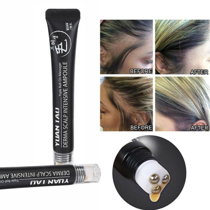 20ml Hair Line Growth Serum Derma Scalp Intensive Triple Roll Massager Fast Hair Regrow Anti Hair Loss Essence Hair Products