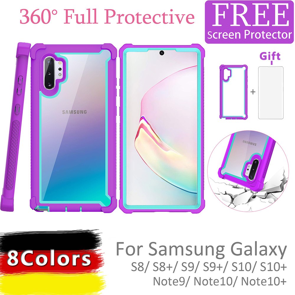 For Samsung Galaxy Note 10 9 Case S10 S9  S8 Plus New Colorful 360 Protective Shockproof Case With Free Screen Protector Cover