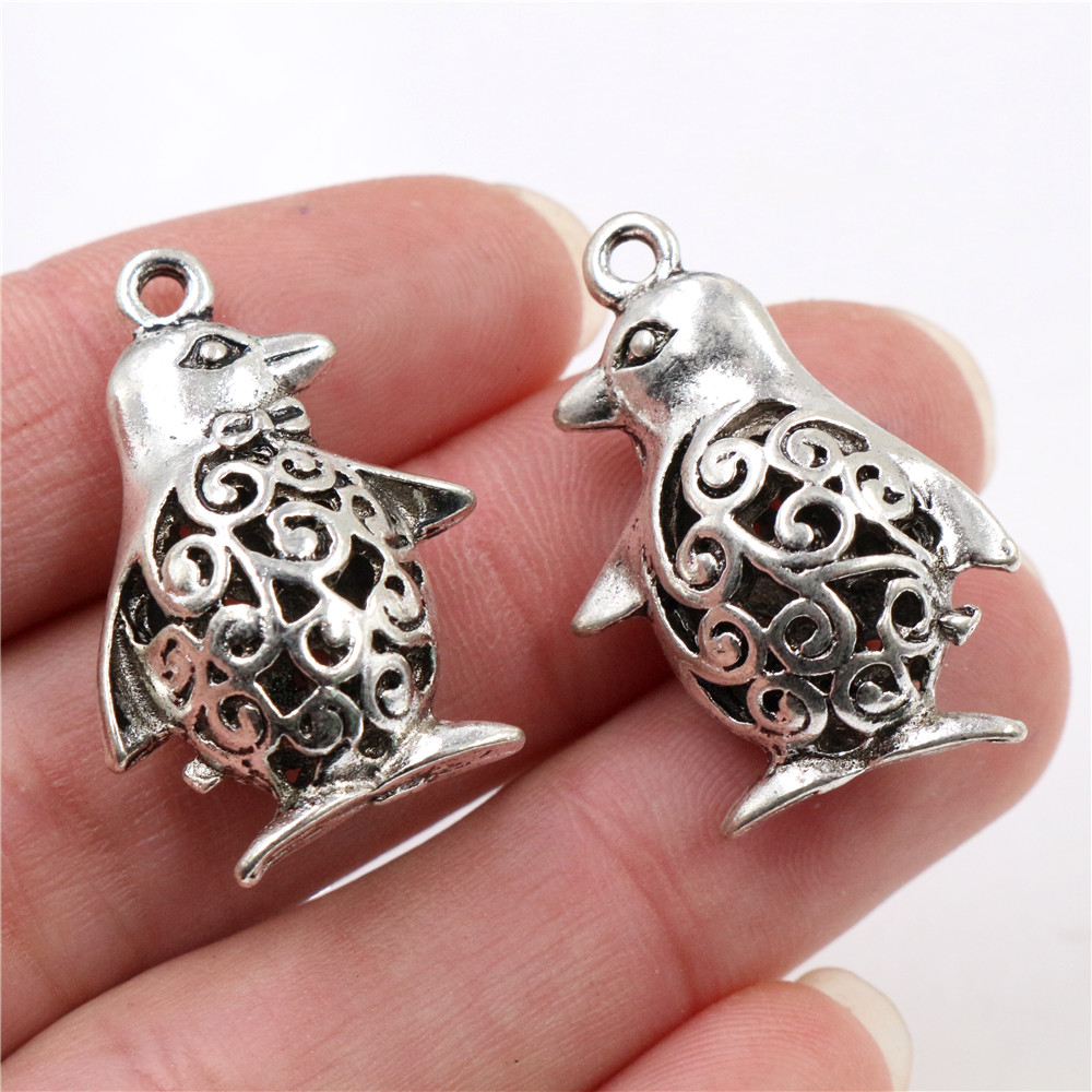 30X19x11mm 5pcs Antique Silver Plated Penguin Handmade Charms Pendant:DIY For Bracelet Necklace-R5-33