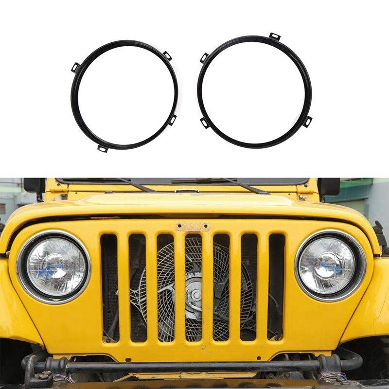 Round Headlight Retaining Ring Headlamp Bezel Mounting Bracket For Jeep Wrangler TJ 1997-2006 Black