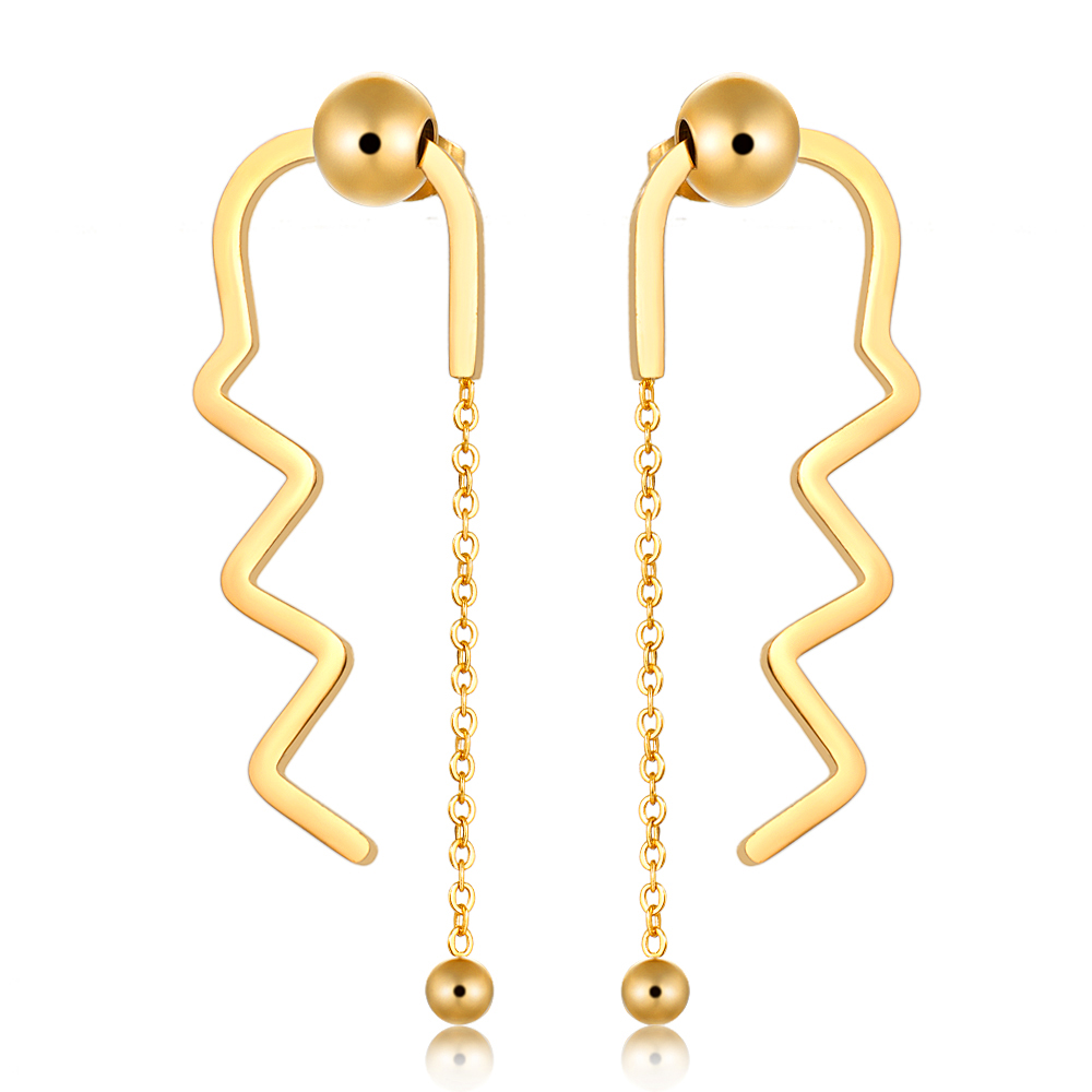 Luxury Brand Long Tassel Earrings Glossy Arc Geometric Earrings for Women Gold Silver Color Earrings For Statement Jewelry