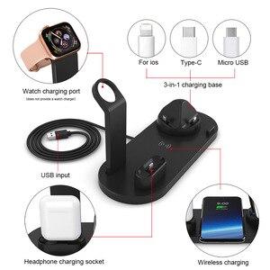 Image 4 - DCAE 4 em 1 Qi Carregador Sem Fio Para iPhone 11 X XS XR 8 10W Tipo C Rápido USB Suporte De Carregamento Doca para Apple Relógio 5 4 3 2 Airpods