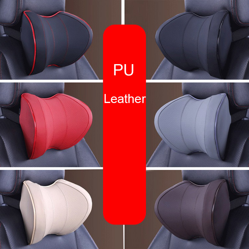 PU Leather Travel Ease Car Lumbar Support Back Cushion & Headrest Neck Pillow Memory Foam For Pain Cervical Neck Relief