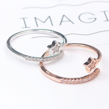 Korean version of the simple star zircon ring fashion color retention ring temperament wild ring female star ring