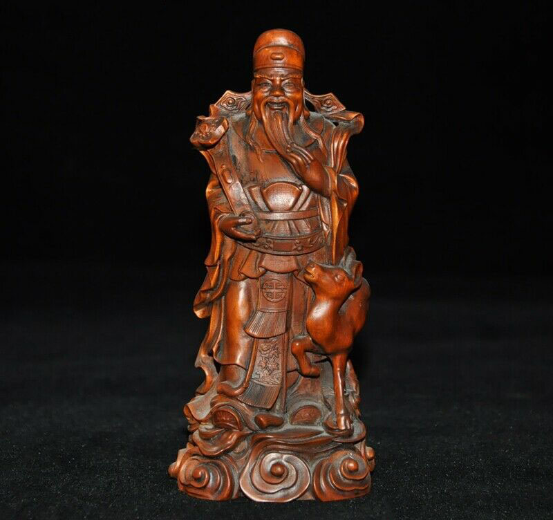 Chinese Hand Engraving Copper Bronze Brass Mammon Small Statue Ornament
