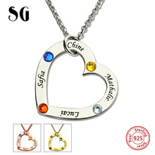 New Arrival Birthstone Heart Necklace Custom Engraved Name Jewelry 925 Sterling Silver Family & Pendant For Lover Gift