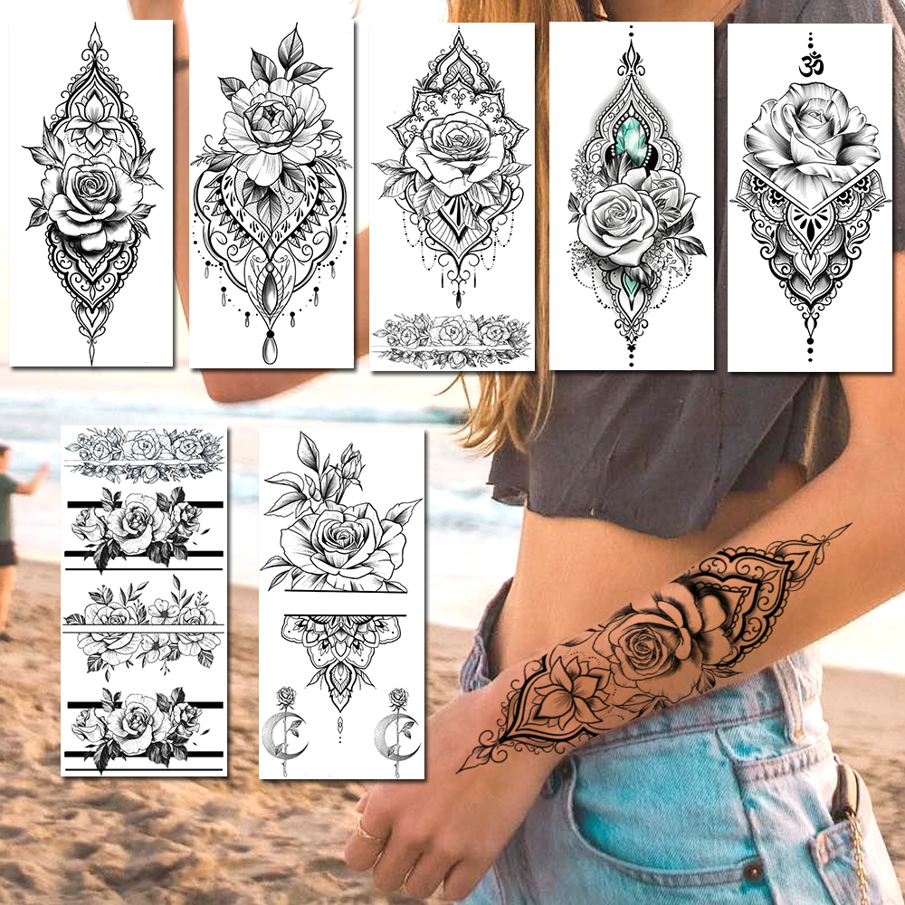 Realistic Fake Jewelry Temporary Tattoos Sticker For Women Sexy Waterproof Blossom Wristband Mandala Flower Rose Tattoos Decal