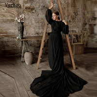 Verngo Modern Black Puff Long Sleeves Evening Dresses Sexy Backless Formal Dress Vintage 2020 Gothic Bridal Party Gowns