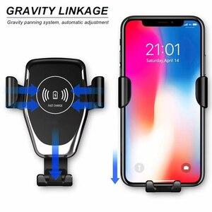 Image 5 - 10W Qi kablosuz araç şarj kızılötesi sensör otomatik sıkma tutucu iPhone 8 artı Samsung S9 araba hızlı şarj telefon standı