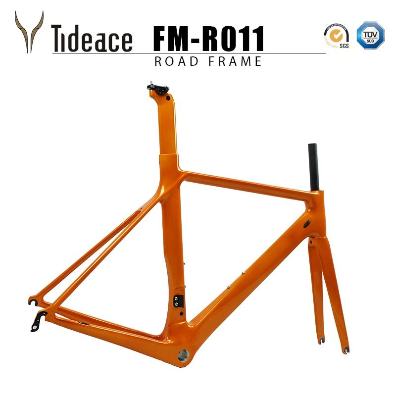 Tideace Carbon Fiber Bicycle Frame Di2&Mechanical Racing Bike Carbon Road Frame+fork+seatpost+headset For Carbon Road Bike