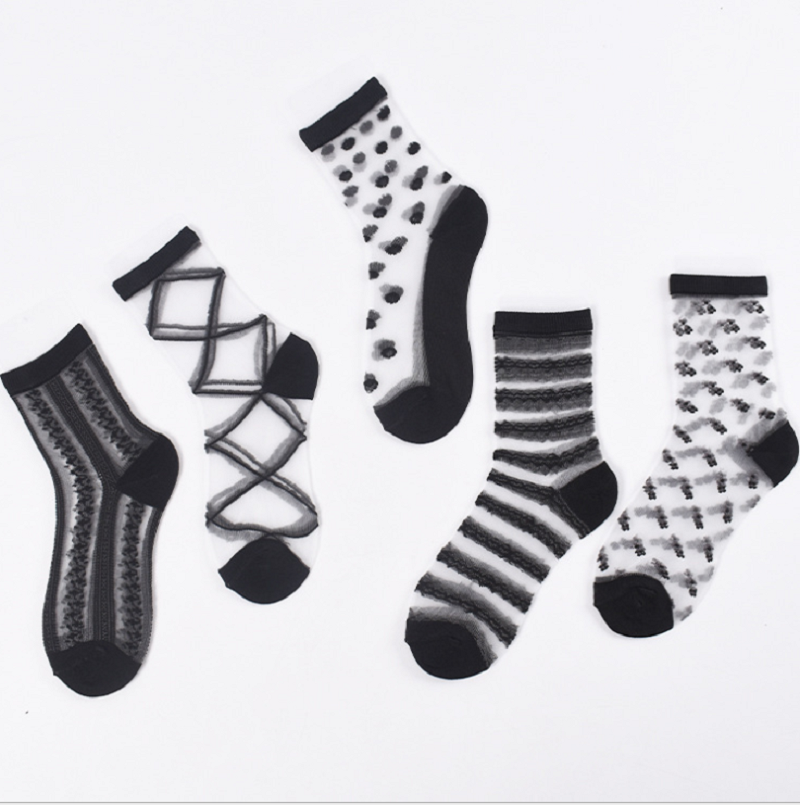 Spring And Summer New Styles Of Women's Ship Socks Personality Ocean Series Silk Glass Socks
