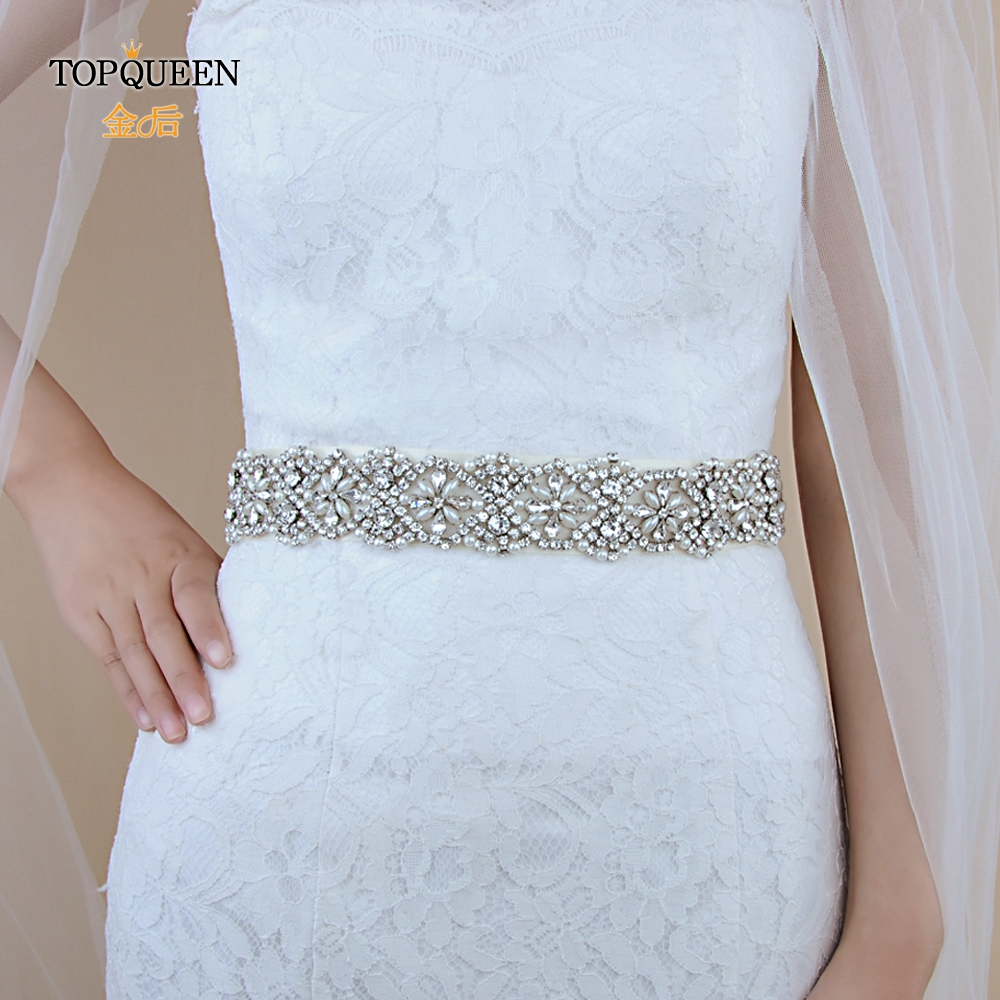 TOPQUEEN S04A Pearl Sash For Wedding Dress Belts For Women Brides Accessory  Pearl And Rhinestone Bridal Belt Sparkle Belt