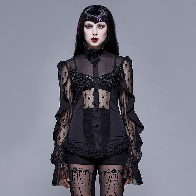 <font><b>Gothic</b></font> Punk Black Hollow Out <font><b>Sexy</b></font> <font><b>Shirts</b></font> High Neck Cross Ties <font><b>Womens</b></font> Tops And Blouses image